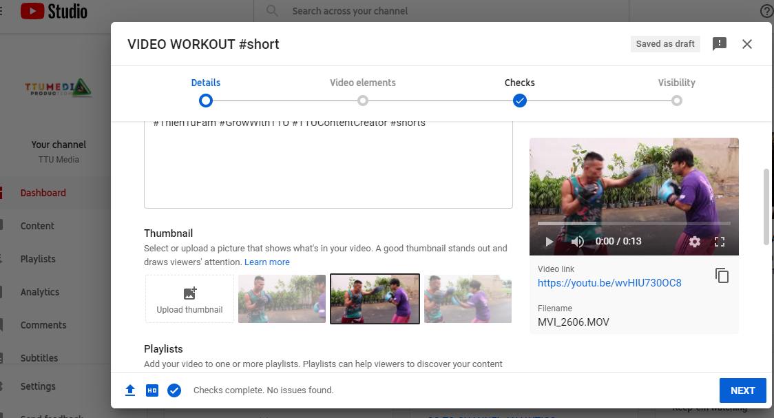 Cách chỉnh ảnh thu nhỏ youtube short