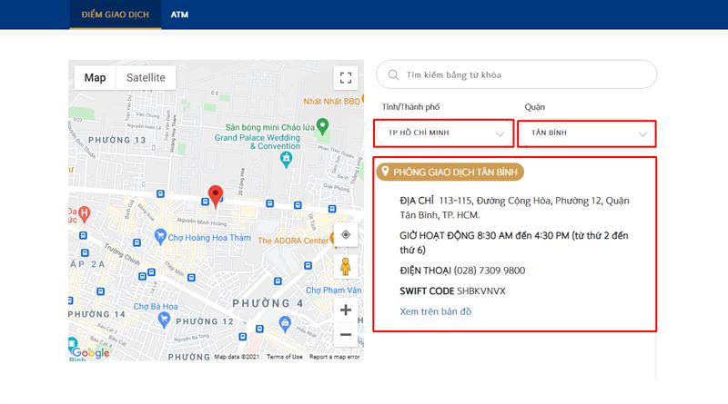 Cách tra cứu ATM, chi nhánh văn phòng Shinhan Bank gần nhất
