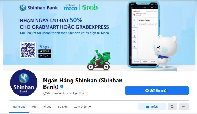 Fanpage facebook Shinhan Bank