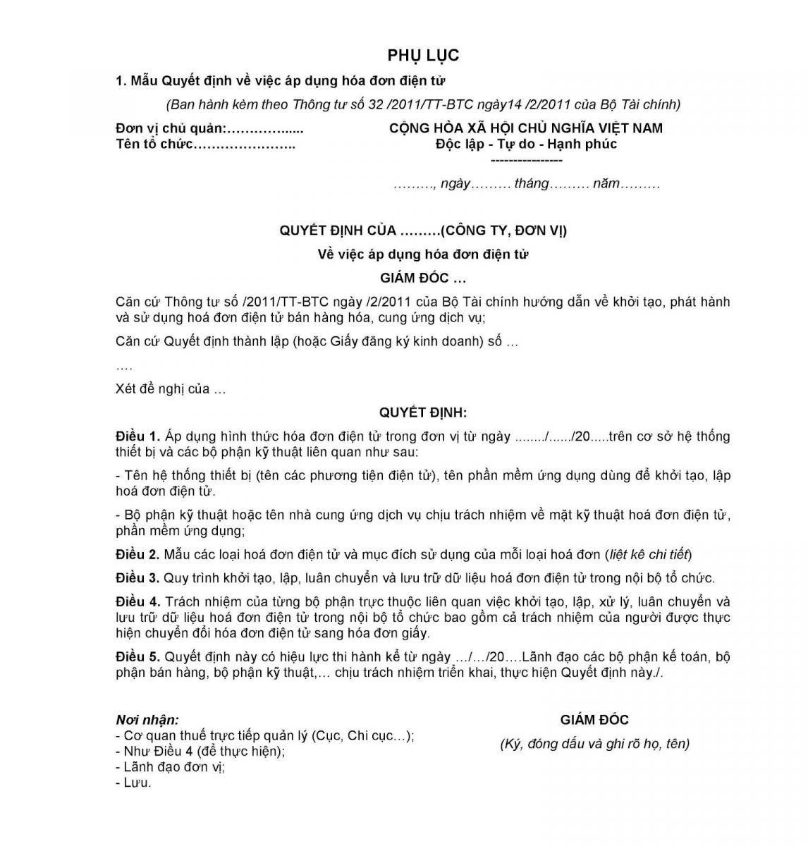 Mẫu đăng ký cấp hóa đơn điện tử trang 1