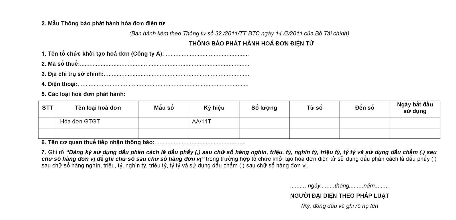 Mẫu đăng ký cấp hóa đơn điện tử trang 2