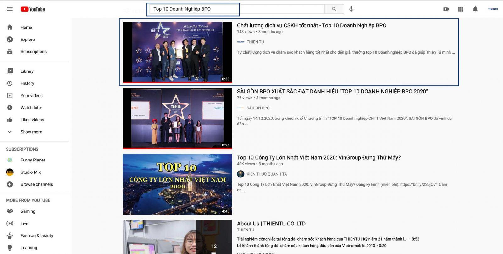 SEO Youtube từ khóa Top 10 Doanh Nghiệp BPO