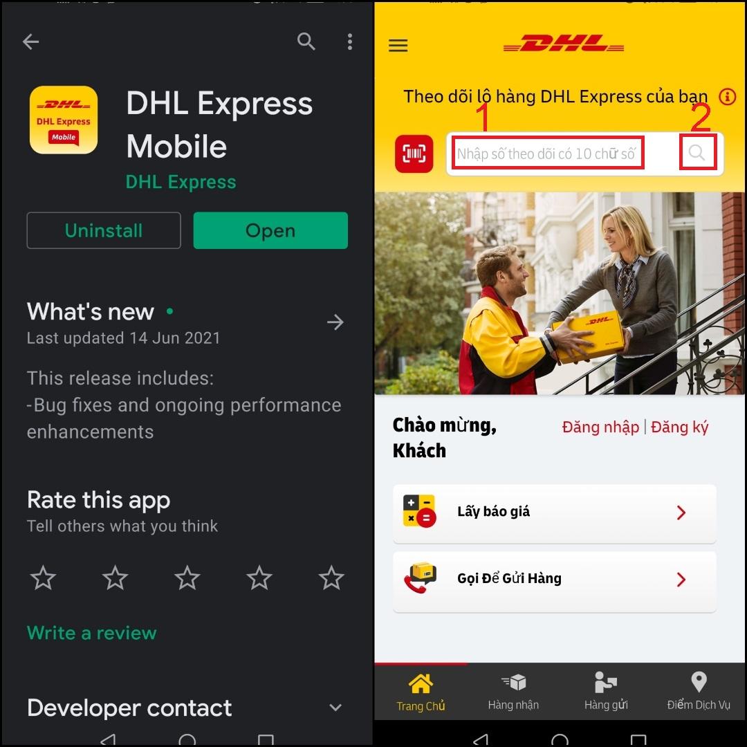 Cách kiểm tra đơn hàng DHL em ứng dụng điện thoại