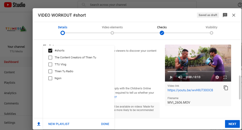 Đặt playlist cho youtube short