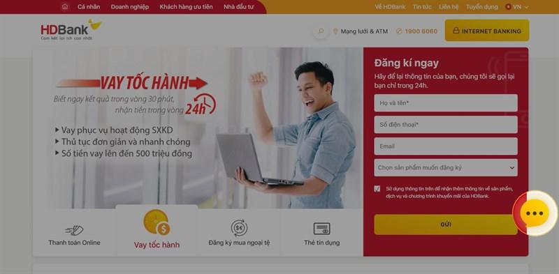 Hỗ trợ trực tuyến ngân hàng HDbank