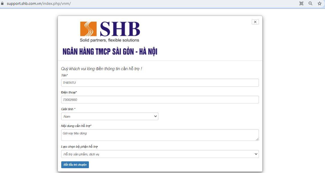 live chat support ngân hàng SHB