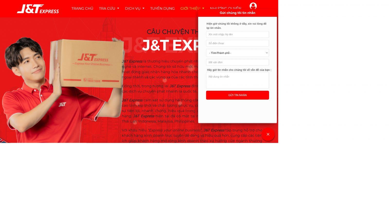 hướng dẫn liên hệ tổng đài J&T express