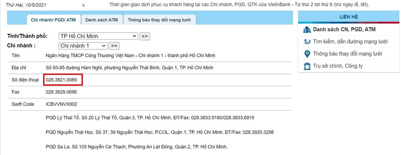Cách tra cứu số hotline tổng đài VietinBank ảnh 2
