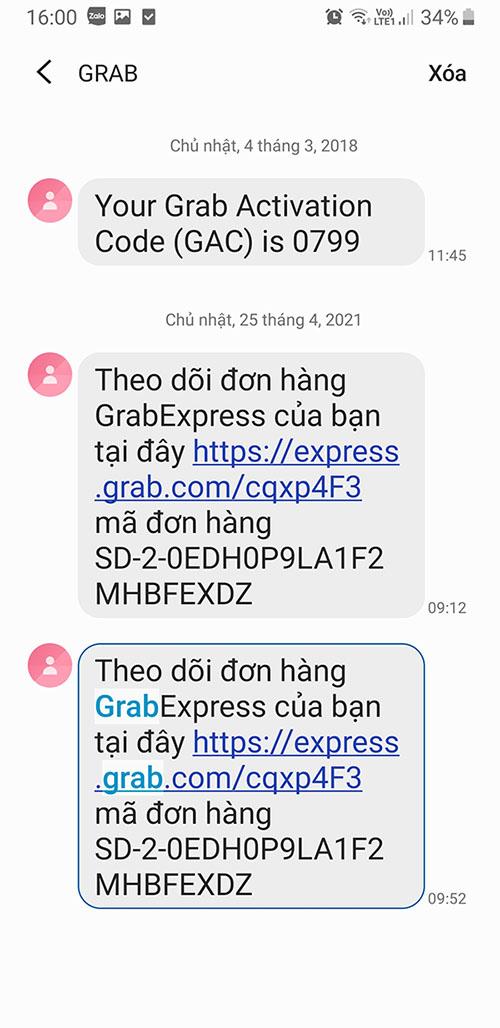 Tra cứu vận đơn grab thông qua tin nhắn sms