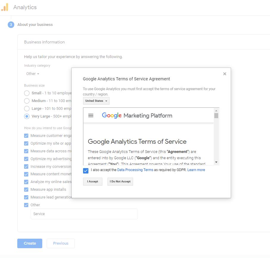 Chấp nhận tạo tài khoản google analytic