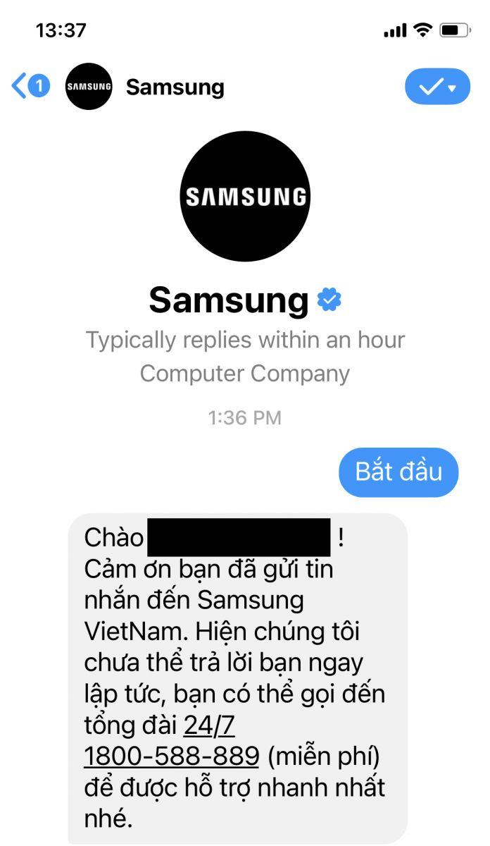 Liên hệ tổng đài Samsung qua Facebook