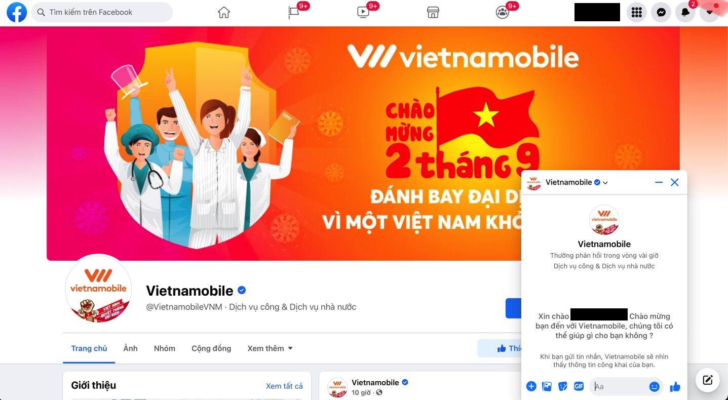 Kênh liên hệ online tổng đài Vietnamobile