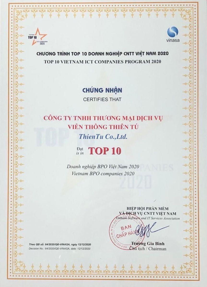 Hình ảnh giải thưởng top 10 doanh nghiệp BPO Việt Nam