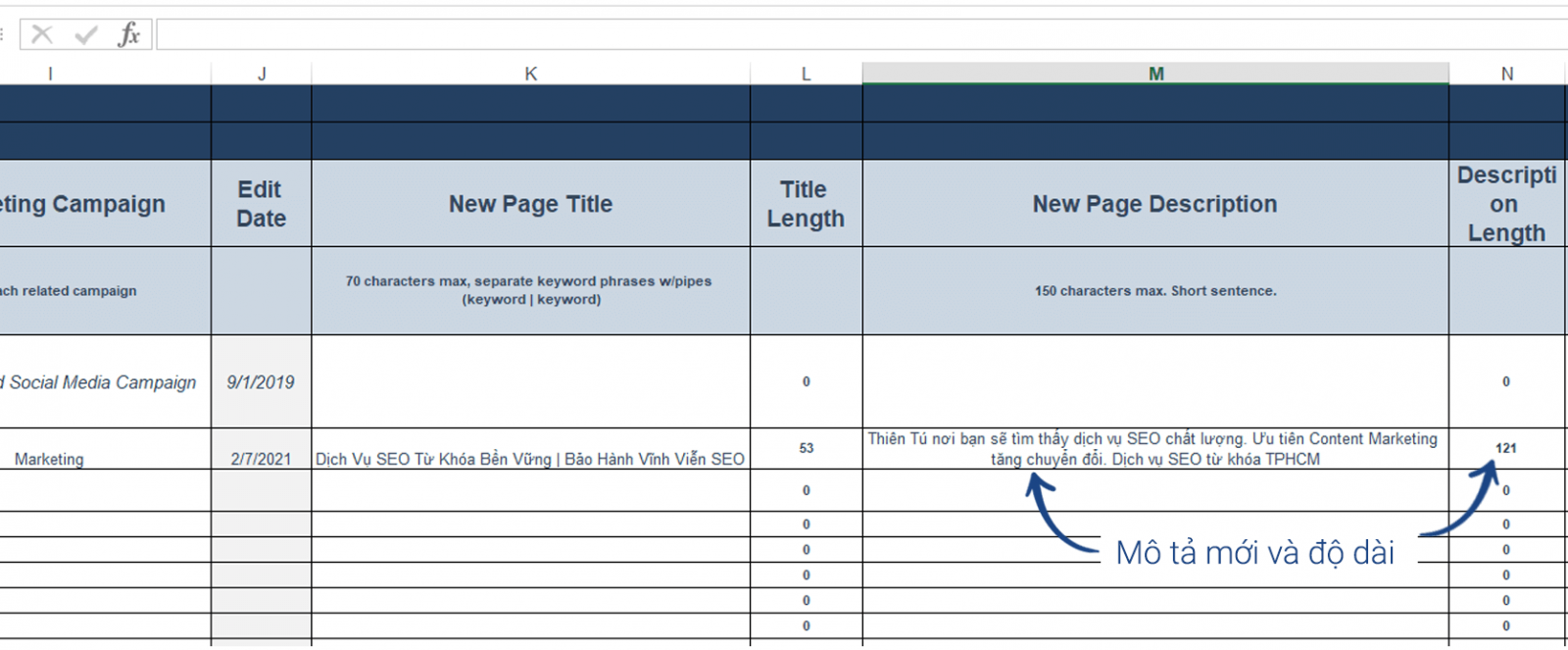 Template SEO on page with colum M