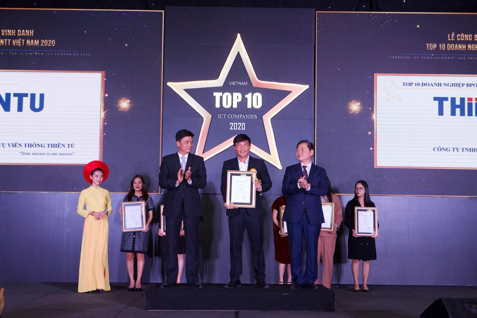 Thiên Tú đoạt giải TOP 10 Doanh Nghiệp BPO 2020