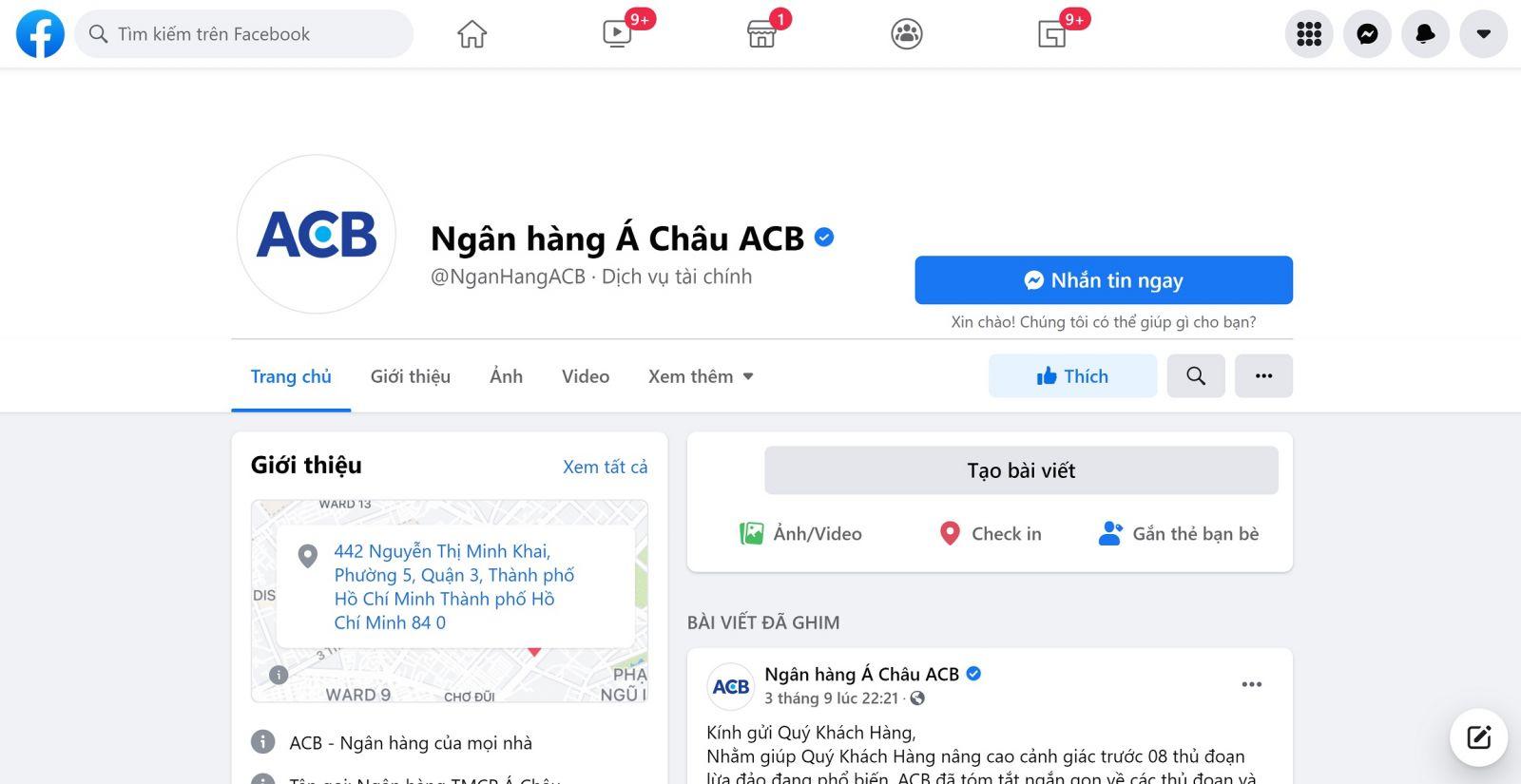 liên hệ với nhân viên tư vấn của ngân hàng ACB qua Facebook