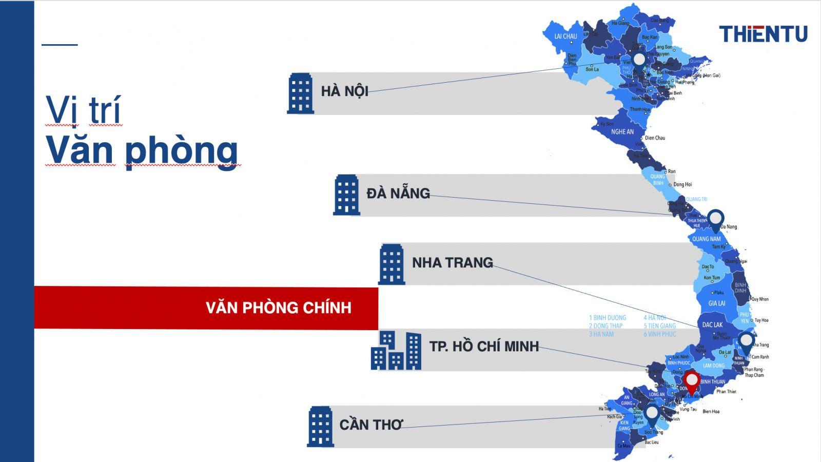 Thông tin chi nhánh văn phòng đại diện của công ty Thiên Tú