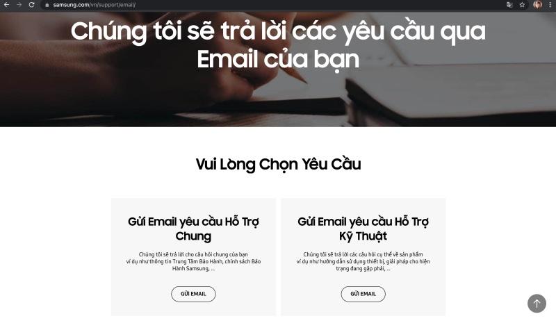 Liên hệ tổng đài Samsung thông qua Email