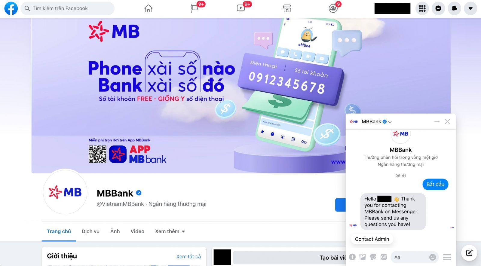 CSKH thông qua Facebook MB Bank