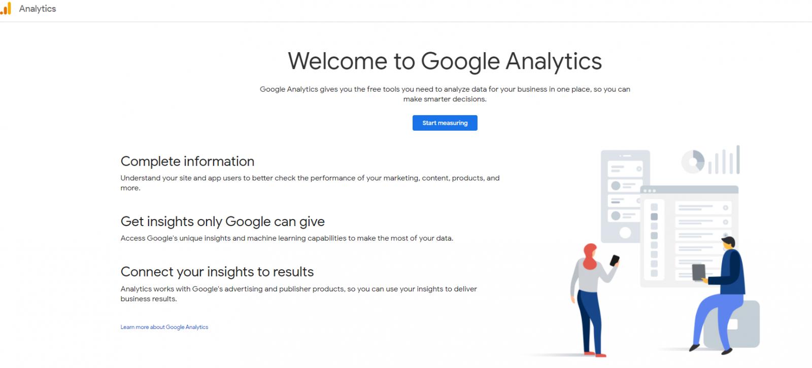 Giao diện tạo tài khoản google analytic