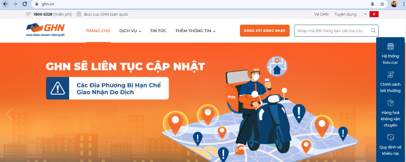Giao diện website Giao Hàng Nhanh