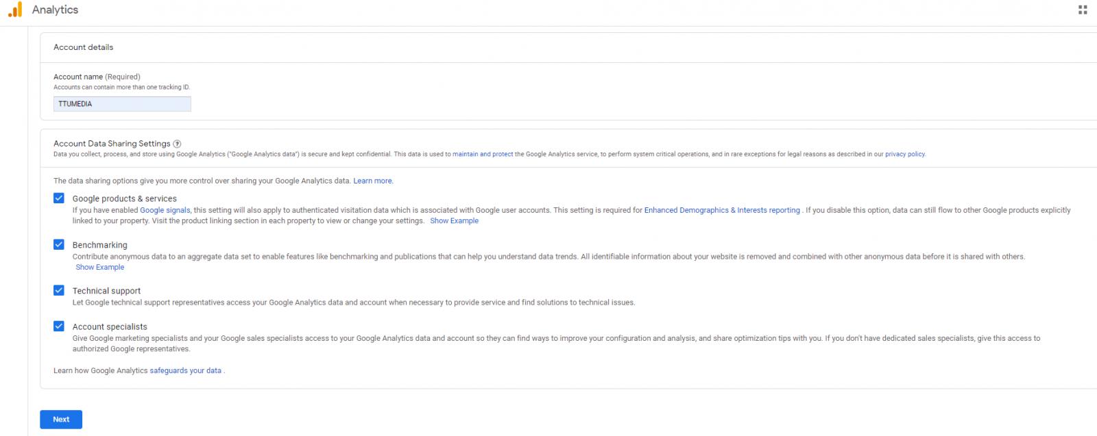 Khai báo thông tin tài khoản google analytic