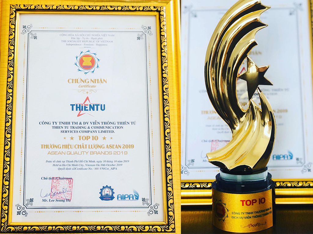 Award Top 10 Asean Quality Brands 2019 ThienTu Co.,Ltd