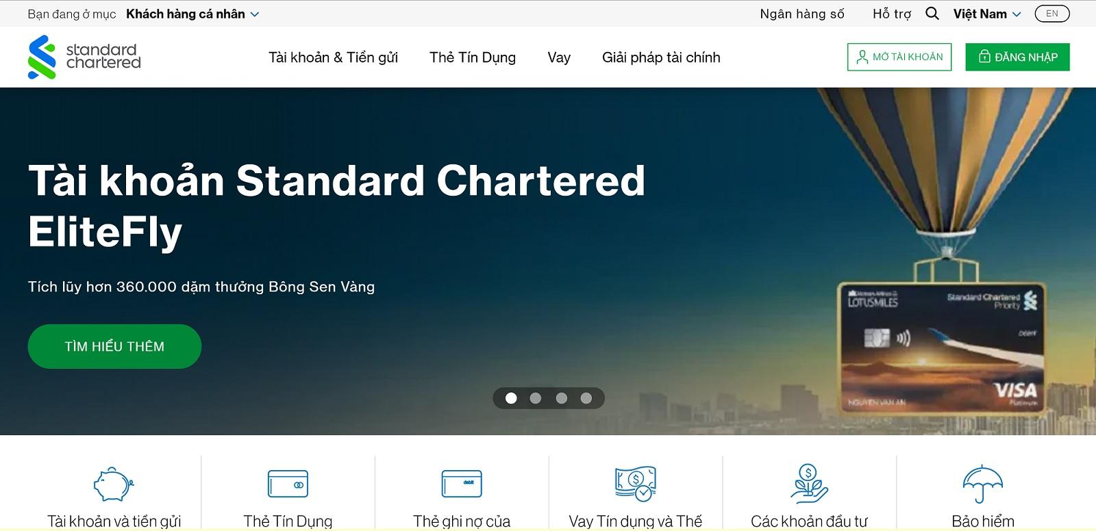 hướng dẫn liên hệ tổng đài Standar Chartered Việt Nam