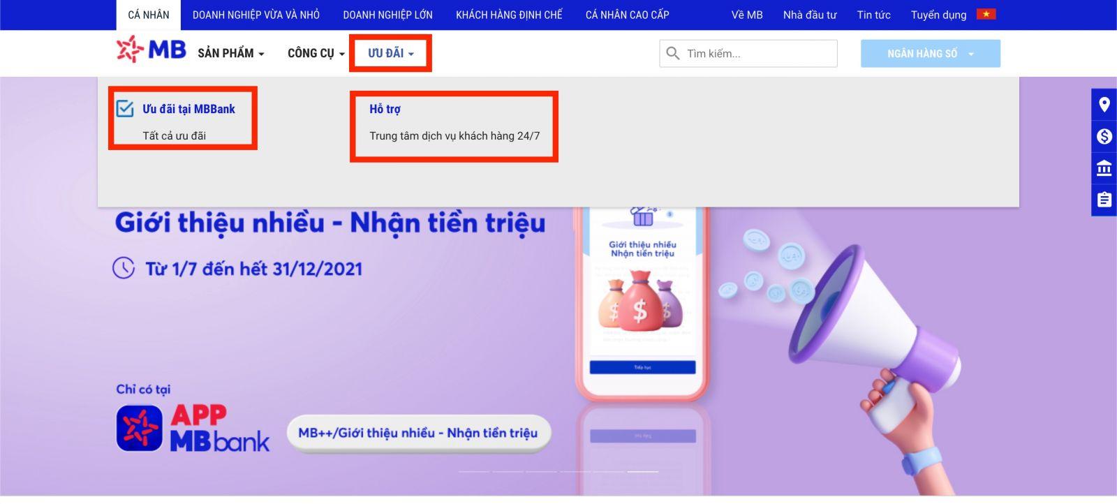CSKH trên website chính thức MB bank