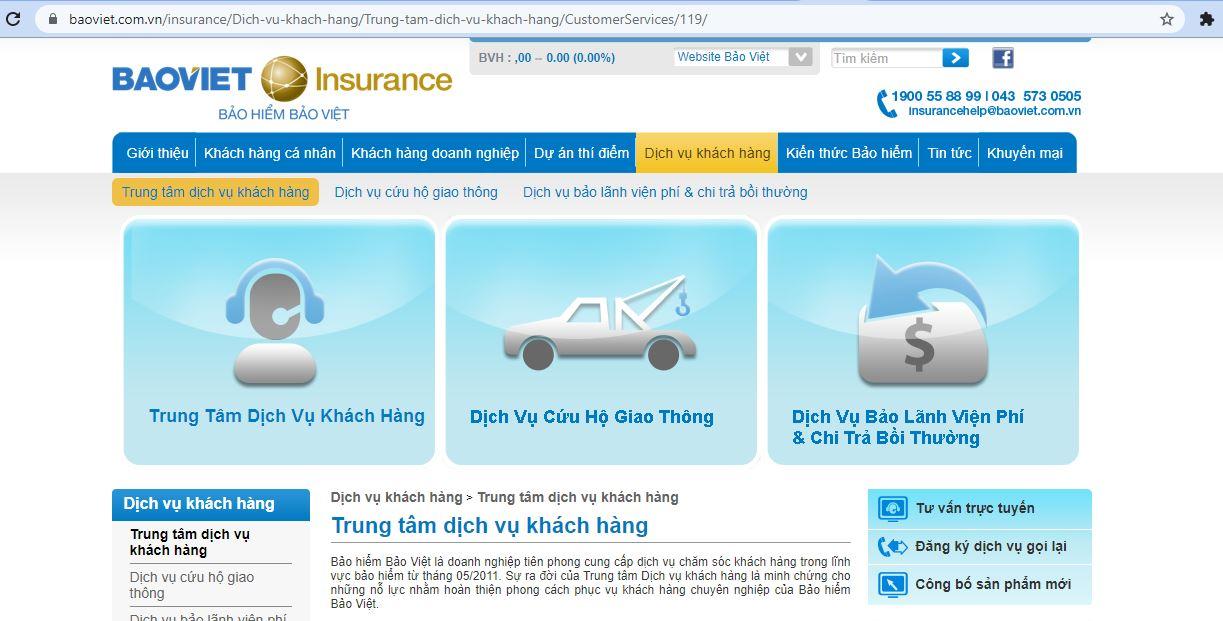 website dịch vụ khách hàng bảo việt
